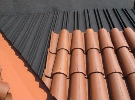 placa bajo teja negra teja curva